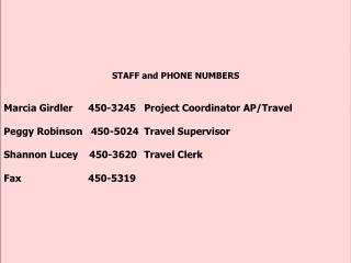 STAFF and PHONE NUMBERS Marcia Girdler	     450-3245	Project Coordinator AP/Travel  Peggy Robinson   450-5024	Travel Sup