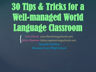 30 Tips & Tricks for a Well-managed World Language Classroom