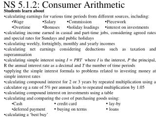 NS 5.1.2: Consumer Arithmetic
