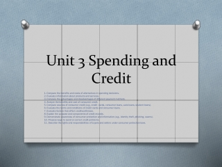 Unit 3 Spending and Credit