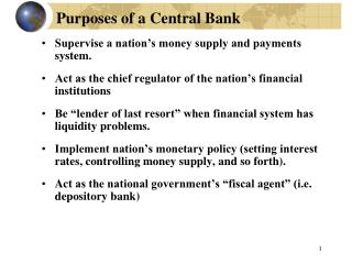 Purposes of a Central Bank