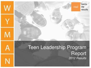 Teen Leadership Program Report 2012 Results