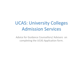 UCAS: University Colleges Admission Services