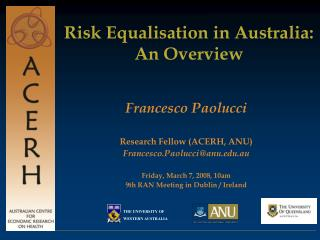 Risk Equalisation  in Australia:  An Overview