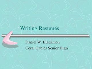 Writing Resumés