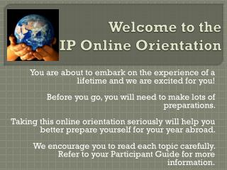 Welcome to the IP Online Orientation