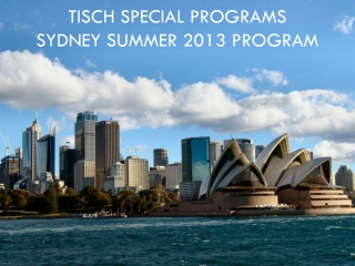 Tisch  Special Programs  Sydney Summer 2013 program