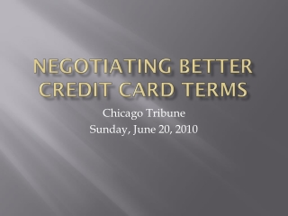 Negotiating Better Credit Card Terms