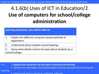 4.1.6(b) Uses of ICT in Education/2 Use of computers for school/college administration