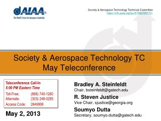 Society & Aerospace Technology TC May Teleconference