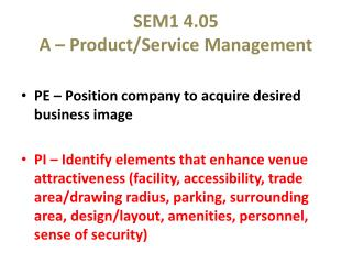 SEM1 4.05 A – Product/Service Management