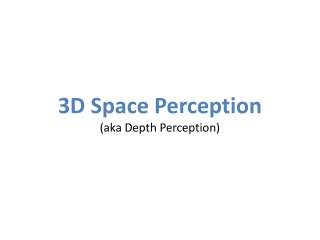 3D Space Perception (aka Depth Perception)