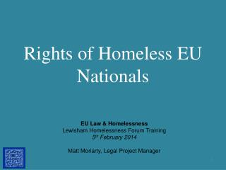 Rights of Homeless EU Nationals