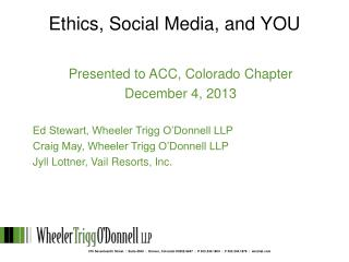 Ethics, Social Media, and YOU