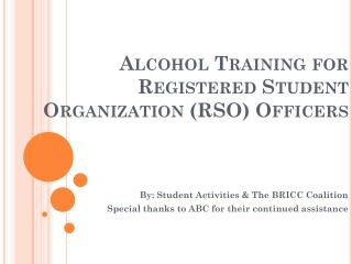 Alcohol Training for Registered Student Organization (RSO) Officers