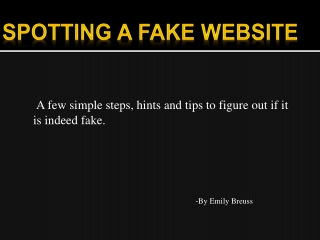 Spotting a fake website