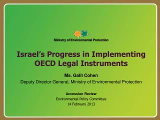Israel's Progress in Implementing OECD Legal Instruments