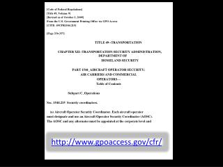 [Code of Federal Regulations] [Title 49, Volume 9] [Revised as of October 1, 2009] From the U.S. Government Printing Off