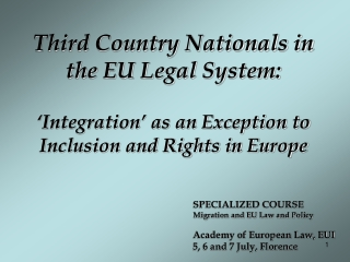 Third Country Nationals in the EU Legal System: 'Integration' as an Exception to Inclusion and Rights in Europe