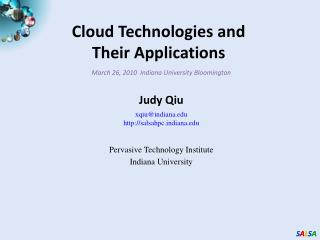 Cloud Technologies and  Their Applications