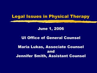 Legal Issues in Physical Therapy