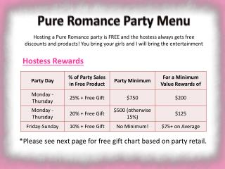 Pure Romance Party Menu