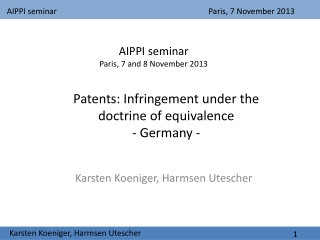 Patents:  Infringement under the doctrine of equivalence - Germany -