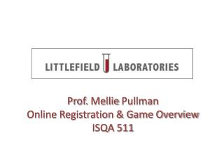 Prof.  Mellie  Pullman Online Registration & Game Overview ISQA 511