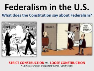 Federalism in the U.S. What does the Constitution say about Federalism?