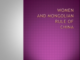 Women and Mongolian rule of china