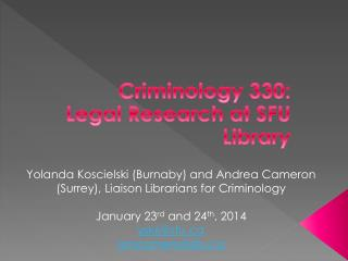 Criminology 330: Legal Research at SFU  Library