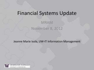 Financial Systems Update