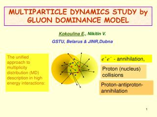 MULTIPARTICLE DYNAMICS STUDY by GLUON DOMINANCE MODEL