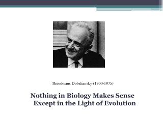 Nothing in Biology Makes Sense  Except in the Light of Evolution