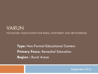 VARUN Voluntary Association For Rural  Upliftment  and Networking