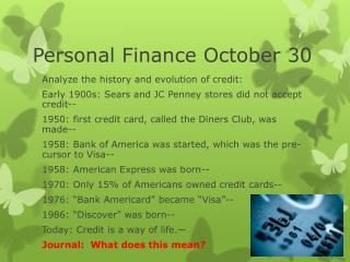 Personal Finance October 30