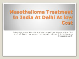 mesothelioma treatment in india at low price