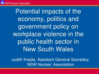 Potential impacts of the economy, politics and government policy on workplace violence in the public health sector in