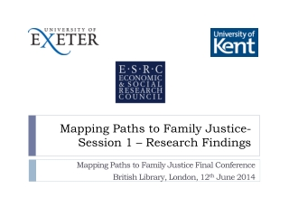 Mapping Paths to Family Justice- Session 1 – Research Findings