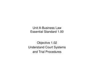 Unit A-Business Law Essential Standard 1.00