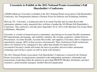 corcentric to exhibit at the 2011 national pronto associatio