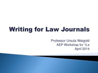 Writing for Law Journals