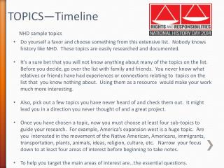 TOPICS—Timeline  NHD sample topics