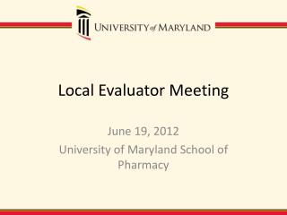 Local Evaluator Meeting