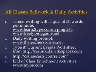 All Classes  Bellwork & Daily Activities