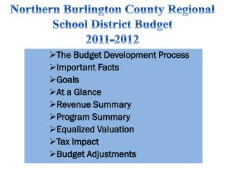 The Budget Development Process Important Facts Goals At a Glance Revenue Summary Program Summary  Equalized Valuation T