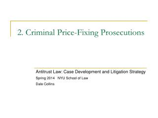 2. Criminal Price-Fixing Prosecutions