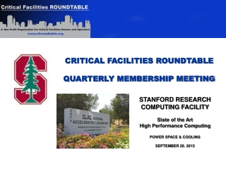 CRITICAL FACILITIES ROUNDTABLE QUARTERLY MEMBERSHIP MEETING