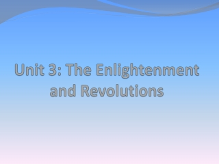 Unit 3: The Enlightenment and Revolutions
