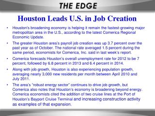 Houston Leads U.S. in Job Creation